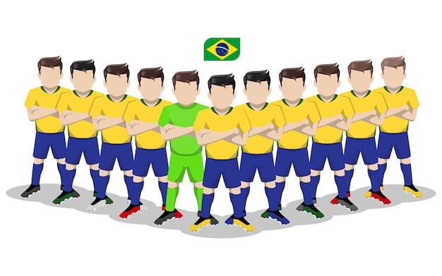 Ilustração plana da seleção brasileira de futebol para a competição da américa do sul