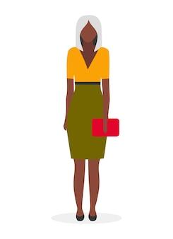 Ilustração plana da senhora de negócios de pele escura. mulher afro-americana elegante e glamour com personagem de desenho animado loira de corte de cabelo curto. jovem empresária negra, gerente com roupa formal em branco
