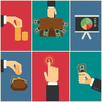 Ilustração plana das mãos de negócios e finanças: compra, pagamento e economia