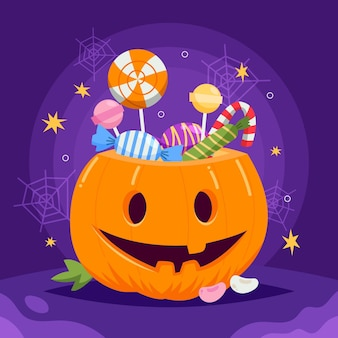 Ilustração plana de abóbora de halloween