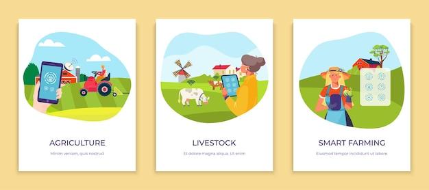 Ilustração plana de agricultura on-line remota de tecnologia do futuro