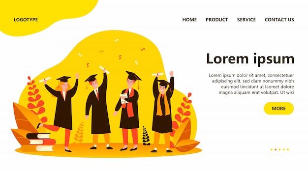 Ilustração plana de alunos felizes formados