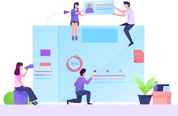 Ilustração plana de análise de desenvolvedor web