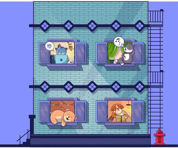 Ilustração plana de apartamento de animais