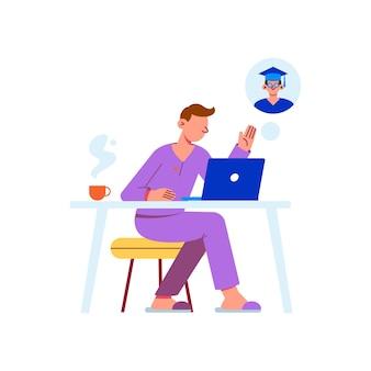 Ilustração plana de aprendizagem à distância com personagem estudando on-line em casa