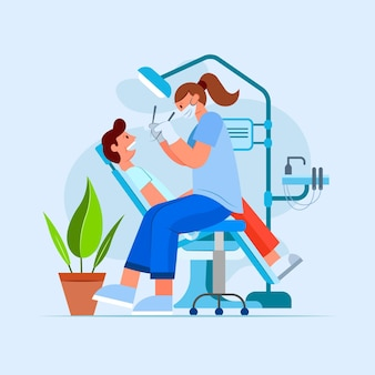 Ilustração plana de atendimento odontológico