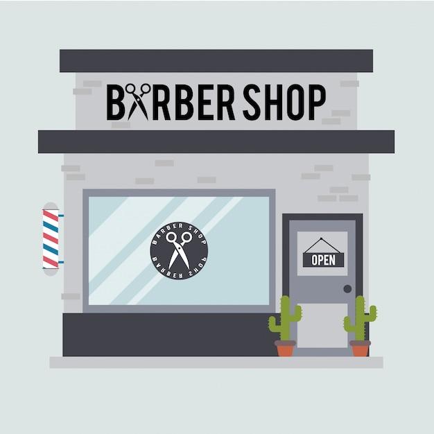 Ilustração plana de barbearia