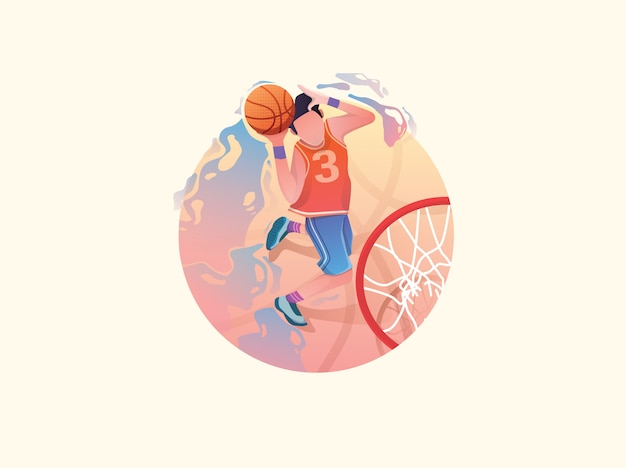 Ilustração plana de basquete web