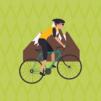 Ilustração plana de bicicleta lifesyle
