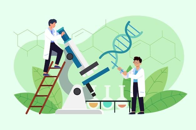 Ilustração plana de biotecnologia