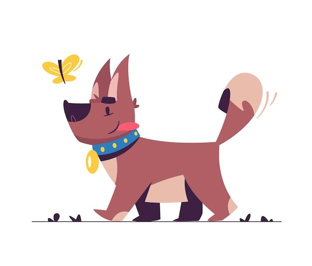 Ilustração plana de cachorrinho fofo