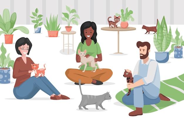 Ilustração plana de café gato ou pet shop.