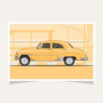 Ilustração plana de carro amarelo clássico