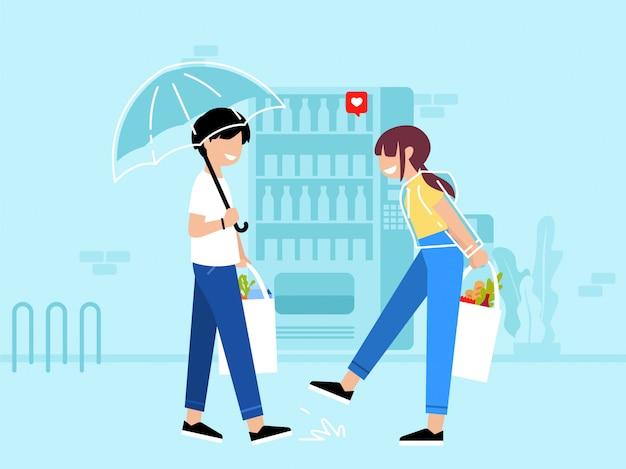 Ilustração plana de casal se divertindo, fazer compras no supermercado depois da chuva