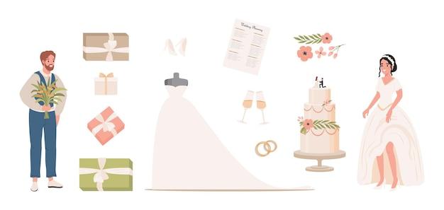 Ilustração plana de casamento noivo noiva em vestido de noiva branco