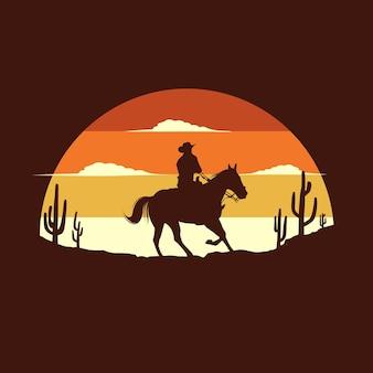 Ilustração plana de caubói andando a cavalo