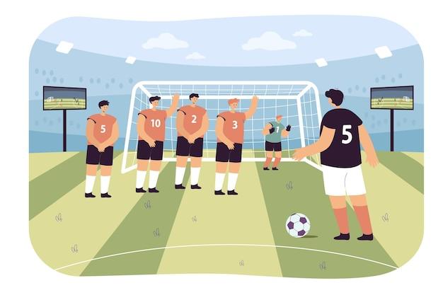 Ilustração plana de chute de pênalti de futebol