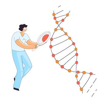 Ilustração plana de cientista homem, personagem fazendo pesquisa genética de dna genético. homem à procura de uma informação na espiral de dna para terapia crispr, conceito.