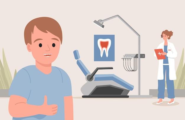 Ilustração plana de clínica odontológica pediátrica