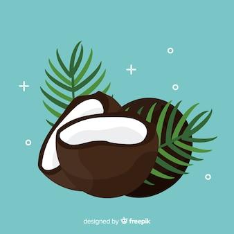 Ilustração plana de coco