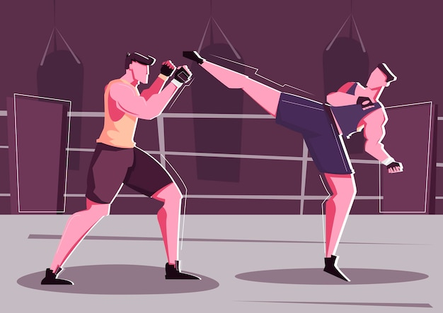 Ilustração plana de combate corpo a corpo com dois homens em uniforme esportivo lutando no ringue