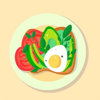 Ilustração plana de comida