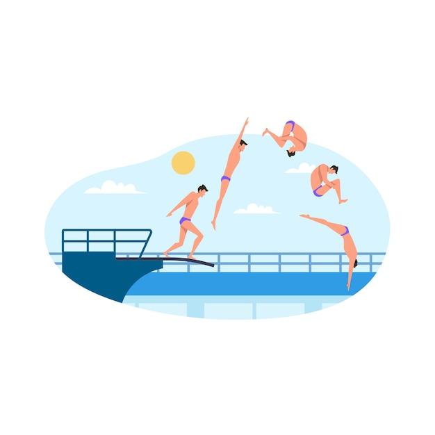 Ilustração plana de competição de mergulho