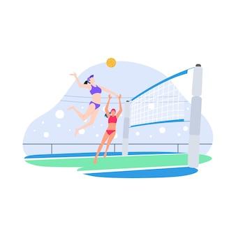 Ilustração plana de competição de voleibol