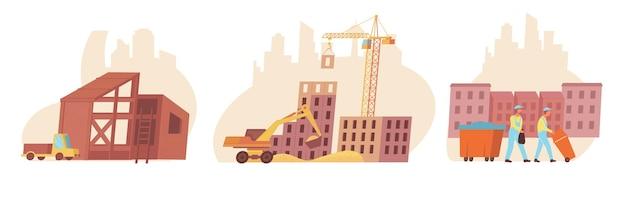 Ilustração plana de composição de construção de casa