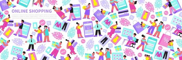 Ilustração plana de compras online