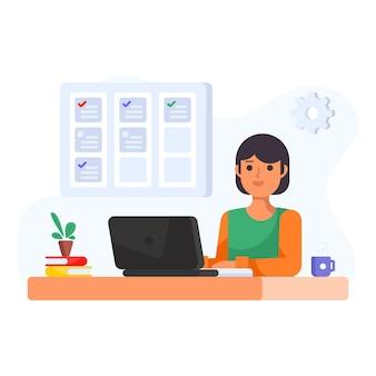 Ilustração plana de comunicação virtual de consultoria financeira