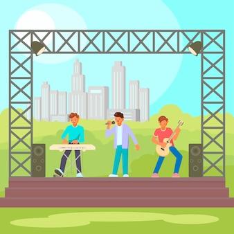 Ilustração plana de concerto ao ar livre