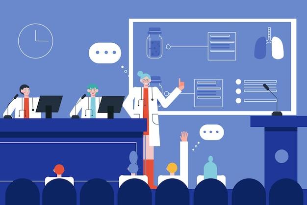 Ilustração plana de conferência médica