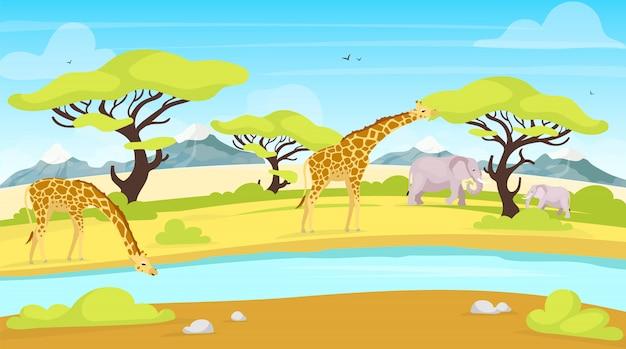 Ilustração plana de conservação africana. girafas e elefantes perto de lugar de rega. rio que flui através da savana. paisagem verde. cenário panorâmico. personagens de desenhos animados de animais do sul