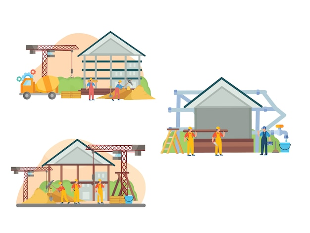 Ilustração plana de construção