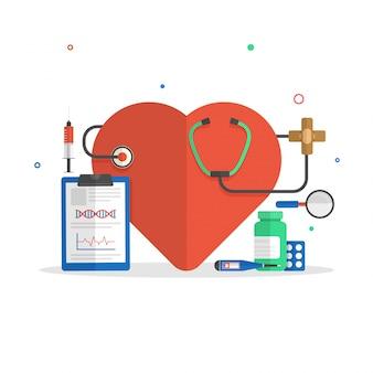 Ilustração plana de coração com estetoscópio, almofada de prescrição e medicamentos para o conceito médico.