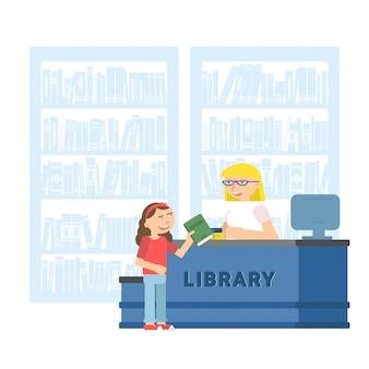 Ilustração plana de criança na biblioteca escolar