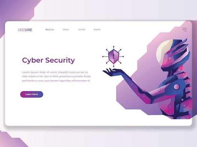 Ilustração plana de cyber segurança web