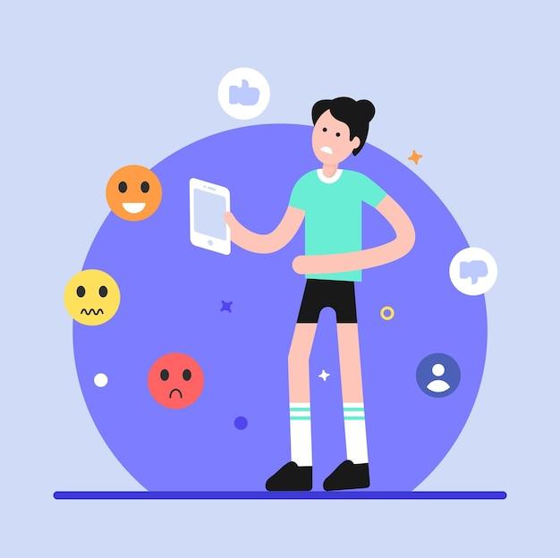 Ilustração plana de cyberbullying em estilo moderno