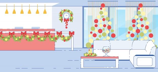 Ilustração plana de decorações de natal de recepção de hotel
