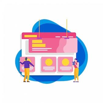Ilustração plana de desenvolvimento de site