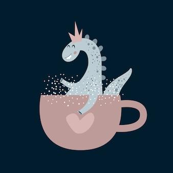 Ilustração plana de dinossauro. réptil