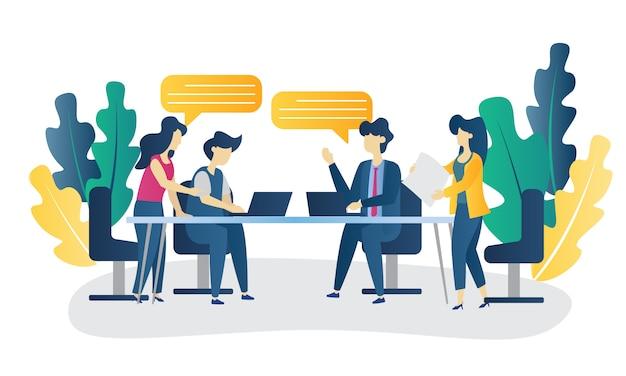 Ilustração plana de discussão de conceito de negócio