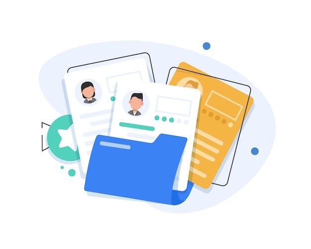 Ilustração plana de documentos de recrutamento