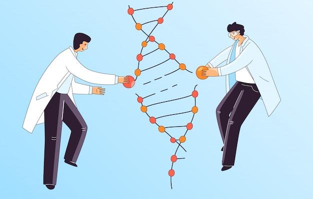 Ilustração plana de dois cientista homem, caracteres fazendo tratamento de dna genético. homem que repara a espiral do adn para a terapia de crispr, conceito.