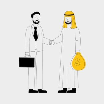 Ilustração plana de dois empresários em transações
