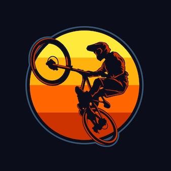 Ilustração plana de downhill bike