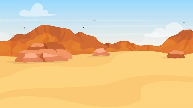 Ilustração plana de dunas. exploração no deserto de areia. paisagem egípcia panorâmica. deserto árabe. terra africana. ambiente de rascunho. visão platão. colinas de montanha. fundo de desenhos animados de terreno baldio