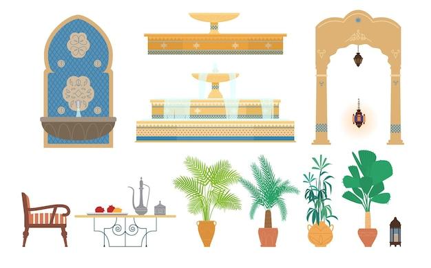 Ilustração plana de elementos de jardim do palácio árabe.