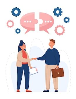 Ilustração plana de empresários apertando as mãos